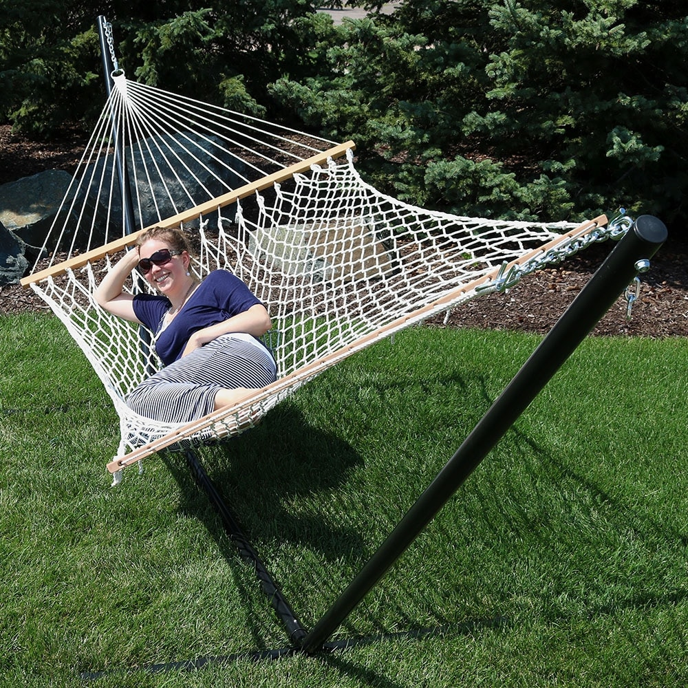sunnydaze 2 person polyester rope hammock with spreader bars and pillow   hammock stand included   free shipping today   overstock     19512433 sunnydaze 2 person polyester rope hammock with spreader bars and      rh   overstock