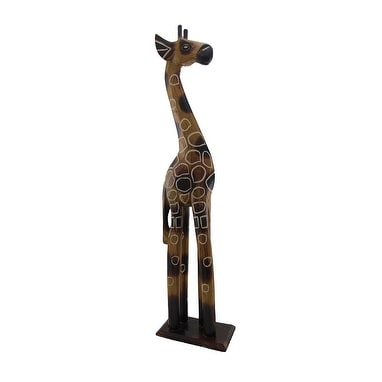 24 Inch Tall Hand Carved Wooden Giraffe Statue Decor Free Shipping On Orders Over 45 19855173