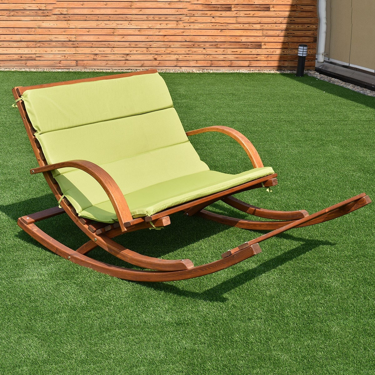 Merveilleux Shop Costway Patio Wood 2 Person Rocking Lounge Chair Wood Slat Porch Furni  W/Green Cushion   Free Shipping Today   Overstock.com   15919060