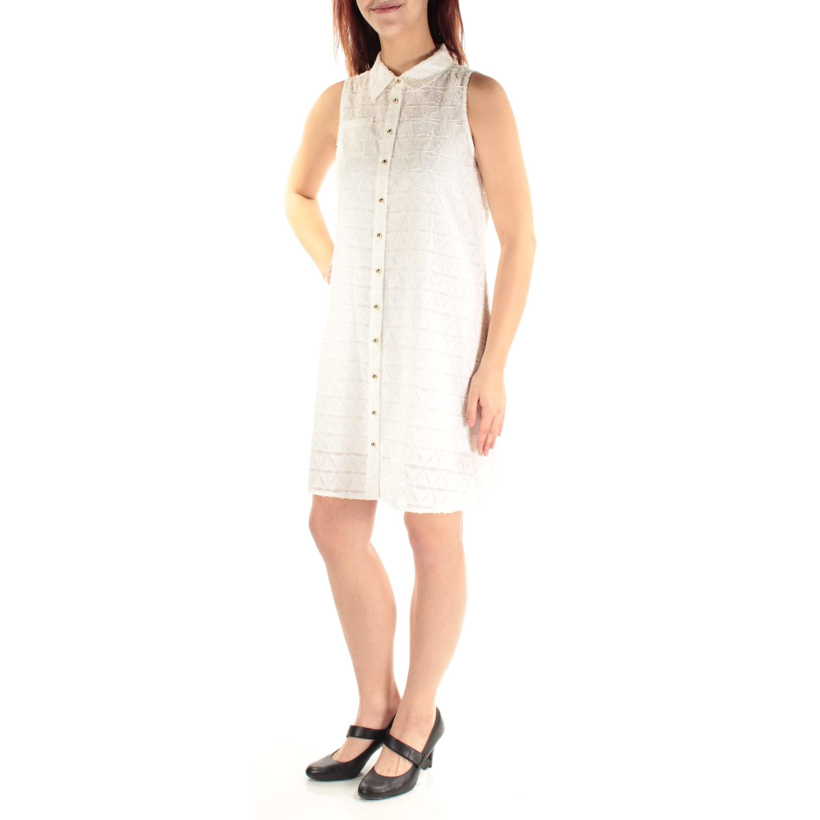 Shop Calvin Klein Womens White Textured Sleeveless Collared Above