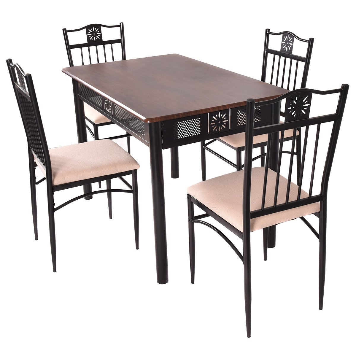Shop costway 5 piece dining set wood metal table and 4 chairs kitchen breakfast furniture free shipping today overstock com 22573759