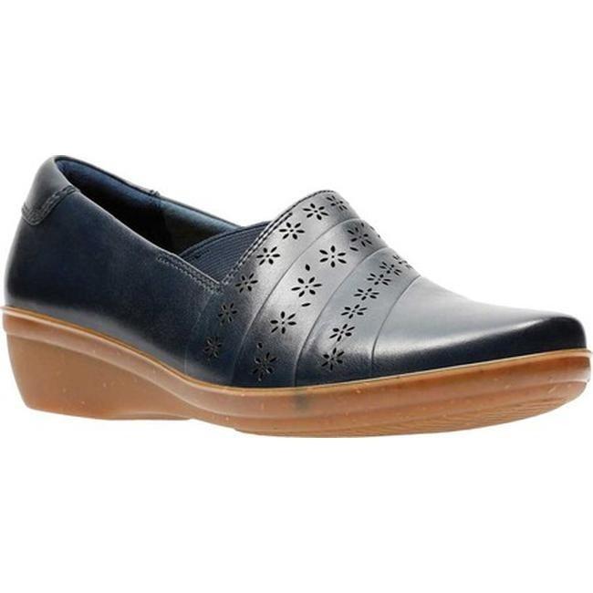 c6904621460 Shop Clarks Women s Everlay Uma Slip On Navy Full Grain Leather - On ...