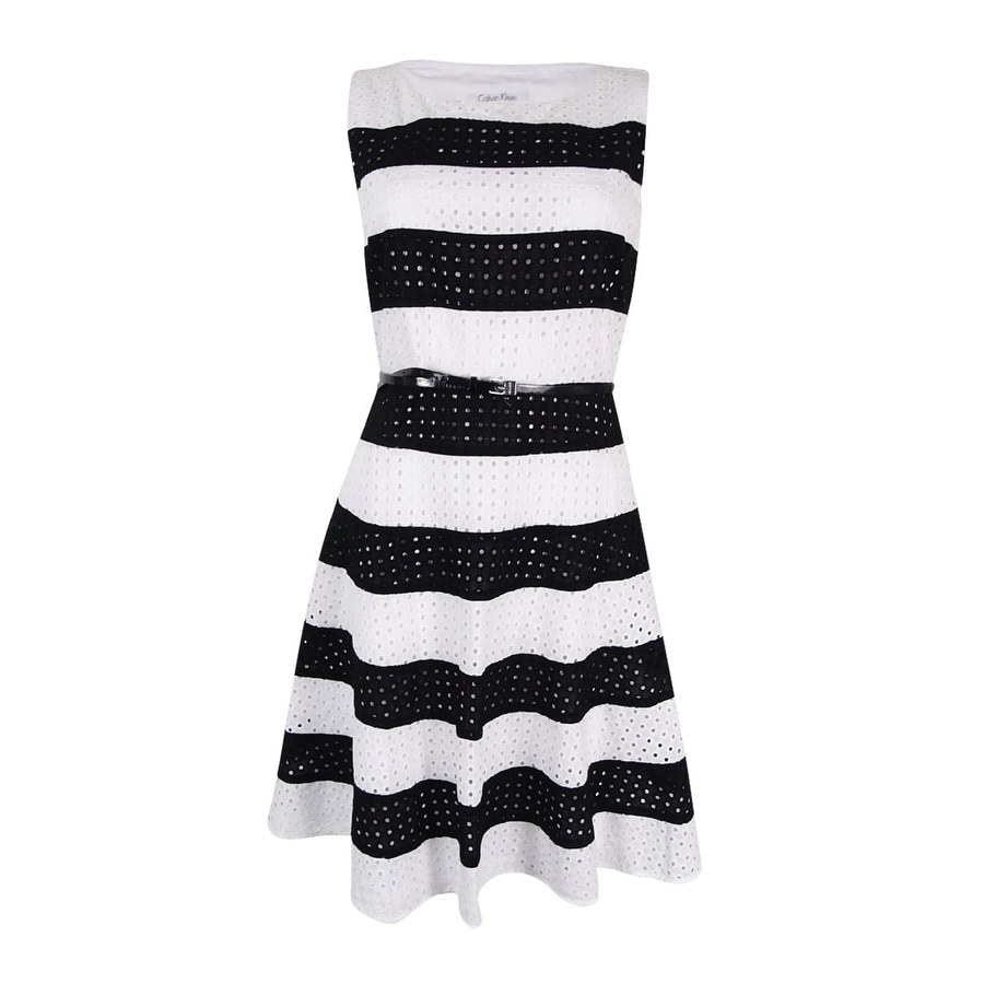 9216c04a4d9 Shop Calvin Klein Women s Striped Belted Fit   Flare Dress (White