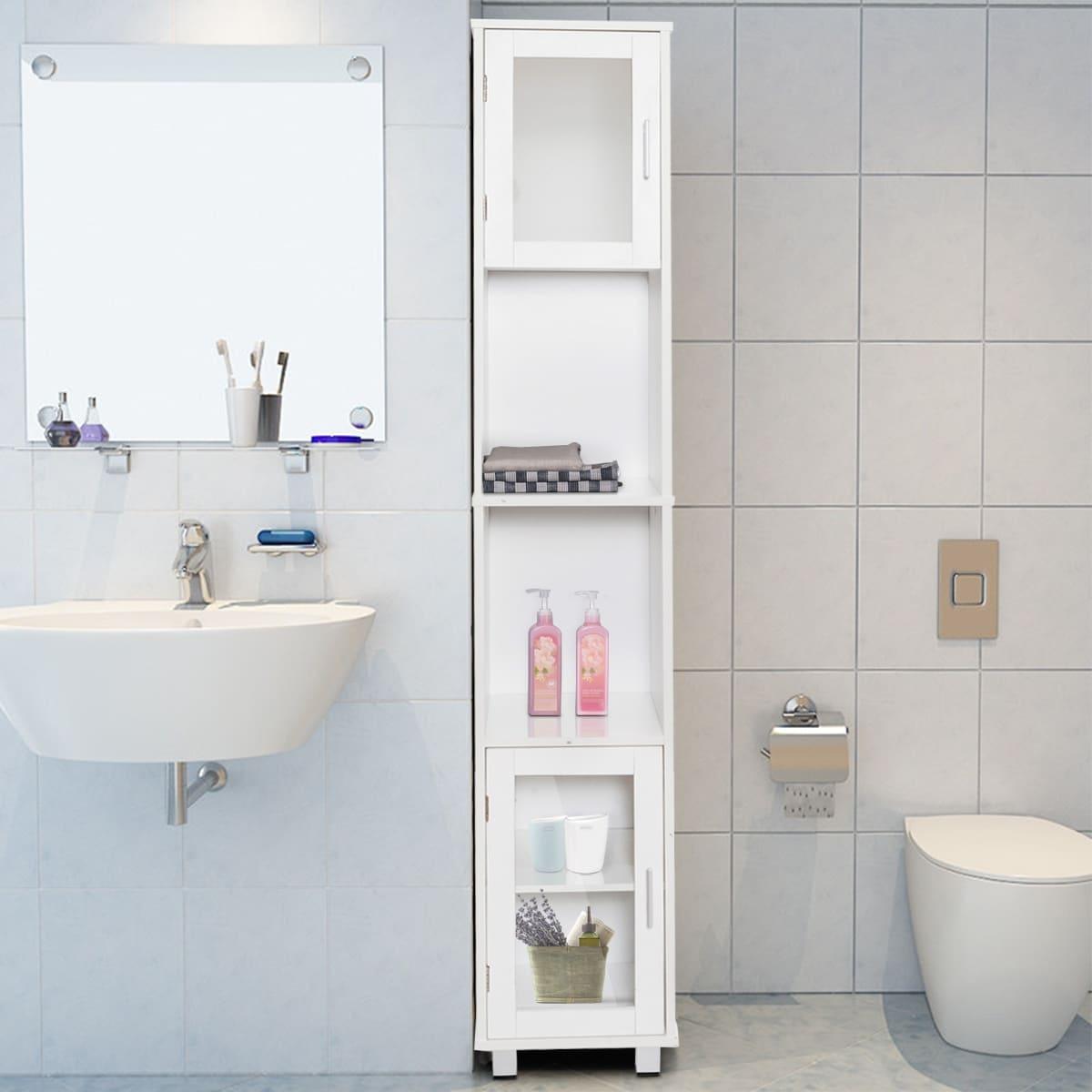 Costway 71\'\' Bathroom Cabinet Wood Tower Tall Shelf Organizer ...
