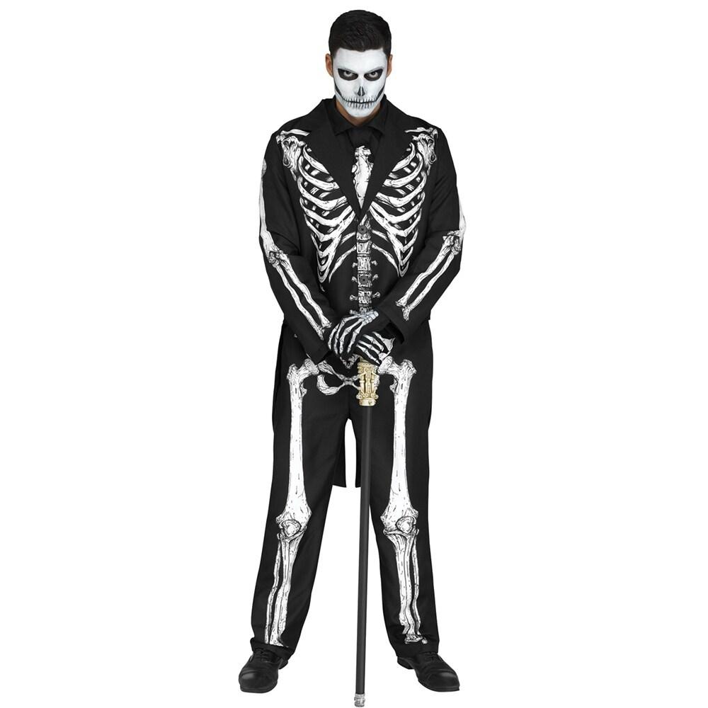 shop mens mr. bones skeleton halloween costume - standard - one size