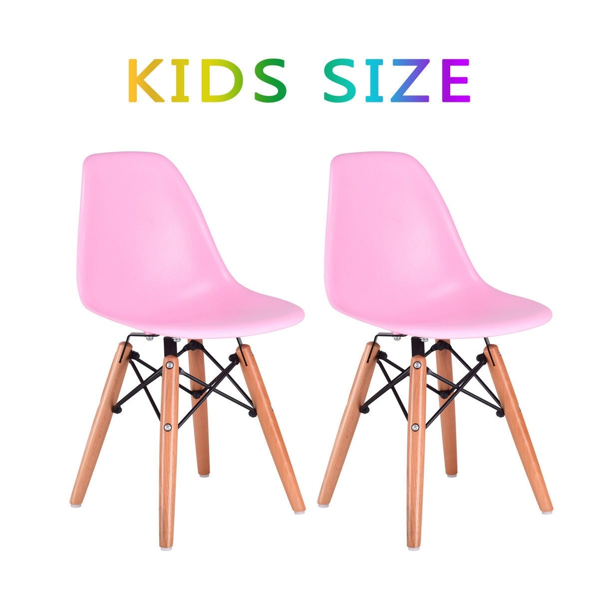 Kids Dining Chair Set Wood Dowel Legs Molded Abs Plastic Seat Armless Pink Free Shipping Today 18770723