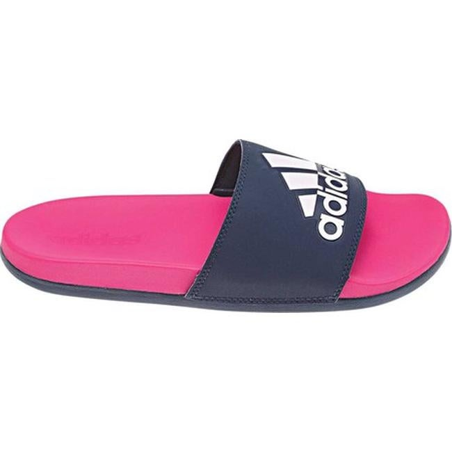 5a3dd370a986 Shop adidas Women s Adilette Cloudfoam PLus Logo Slide Sandal Shock Pink  S16 Collegiate Navy Aero Pink - Free Shipping On Orders Over  45 -  Overstock - ...