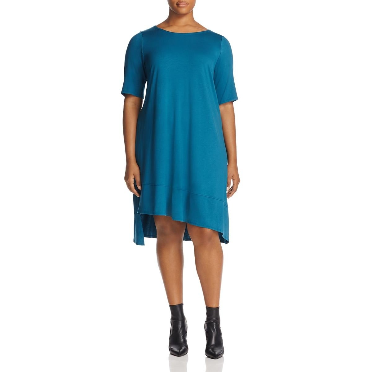 Shop Eileen Fisher Womens Plus T Shirt Dress Short Sleeves Knee