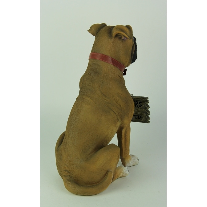 Shop Boxer Dog With Double Sided Sign Indoor/Outdoor Statue   Free Shipping  On Orders Over $45   Overstock.com   21869838