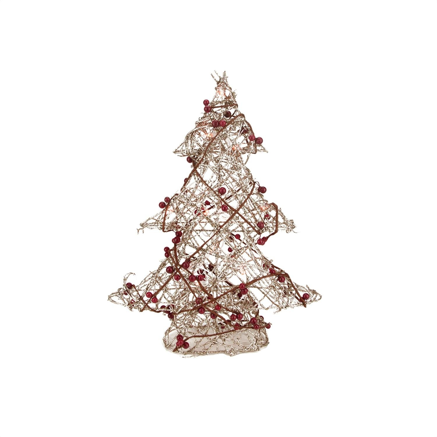 19 Pre Lit Champagne Gold Glittered Rattan Berry Artificial Christmas Tree Clear Lights