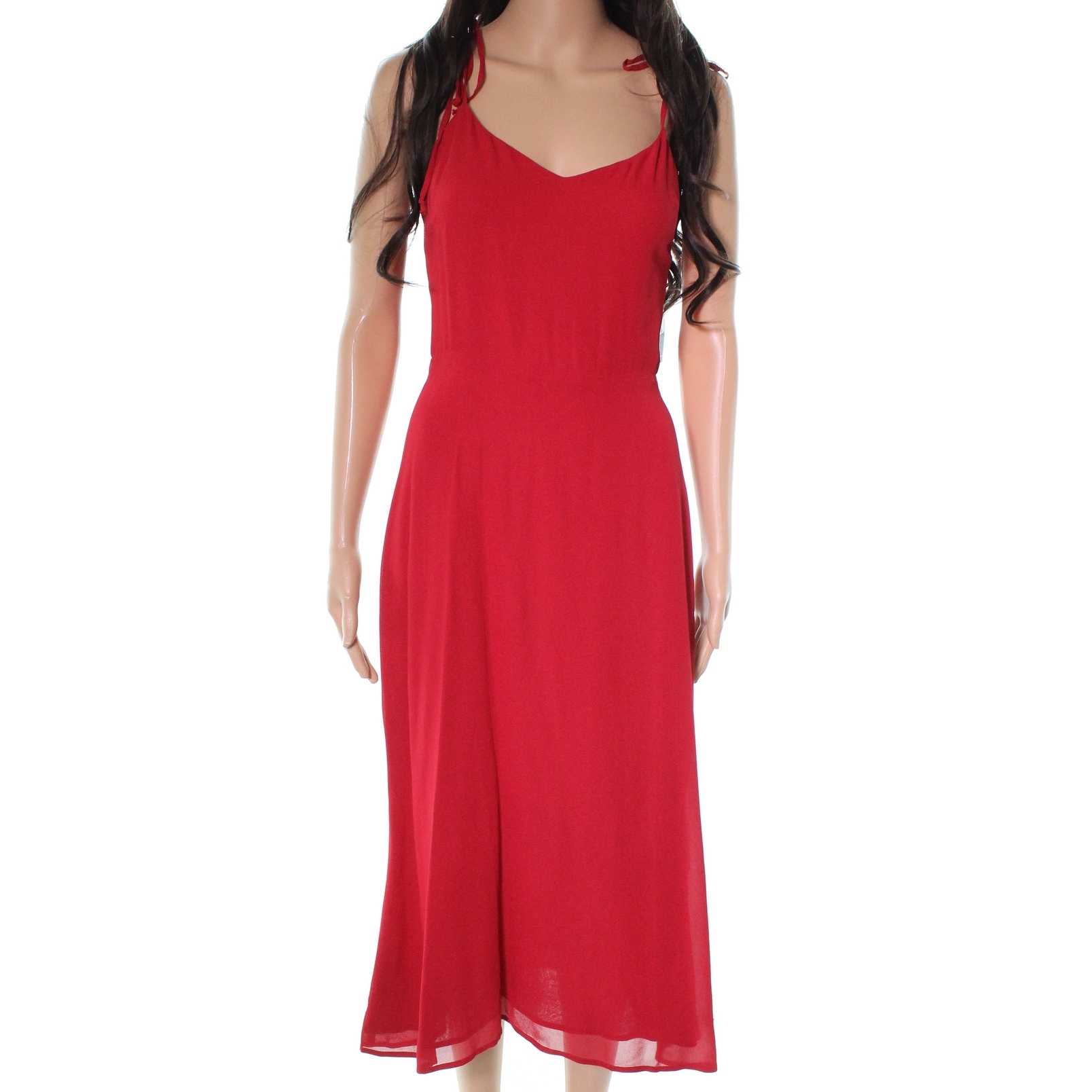 2f95a1ddf058 Shop Reformation Red Smocked Back Women's Size 6 A-Line Midi Dress - Free  Shipping Today - Overstock - 27757078