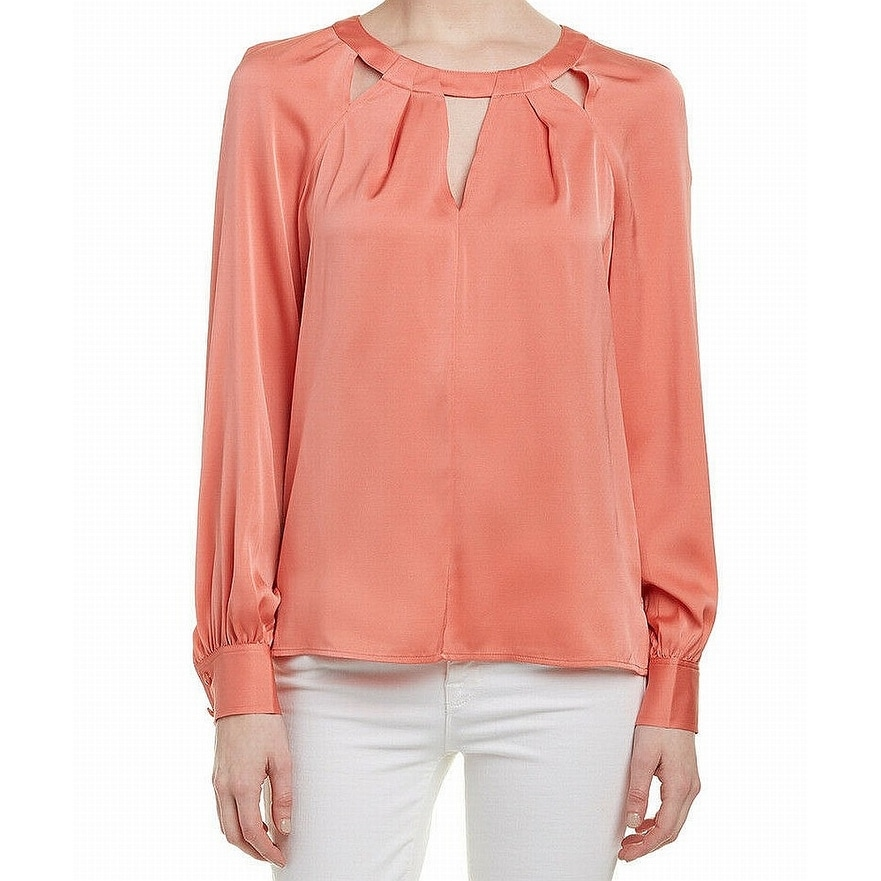 1c072f6a30aa3 Shop Trina Turk Coral Pink Women s Size Small S Cut Out Blouse Silk ...