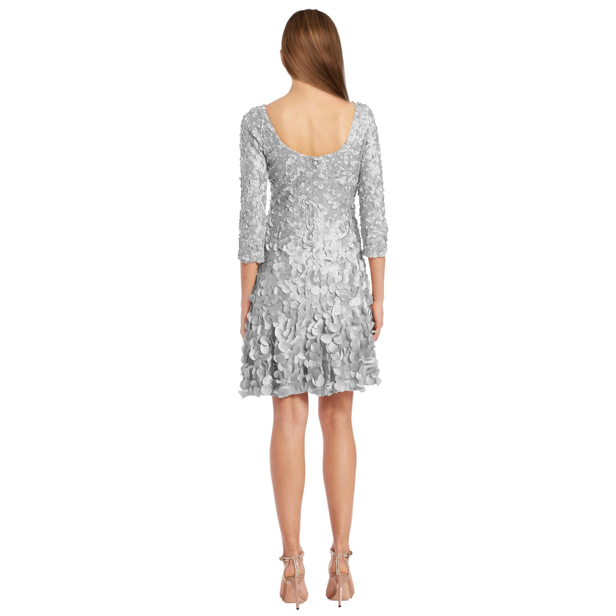 bf47f6c2930 Shop Theia Metallic Petal Applique 3 4 Sleeve Cocktail Evening Dress - Free  Shipping Today - Overstock - 16001073