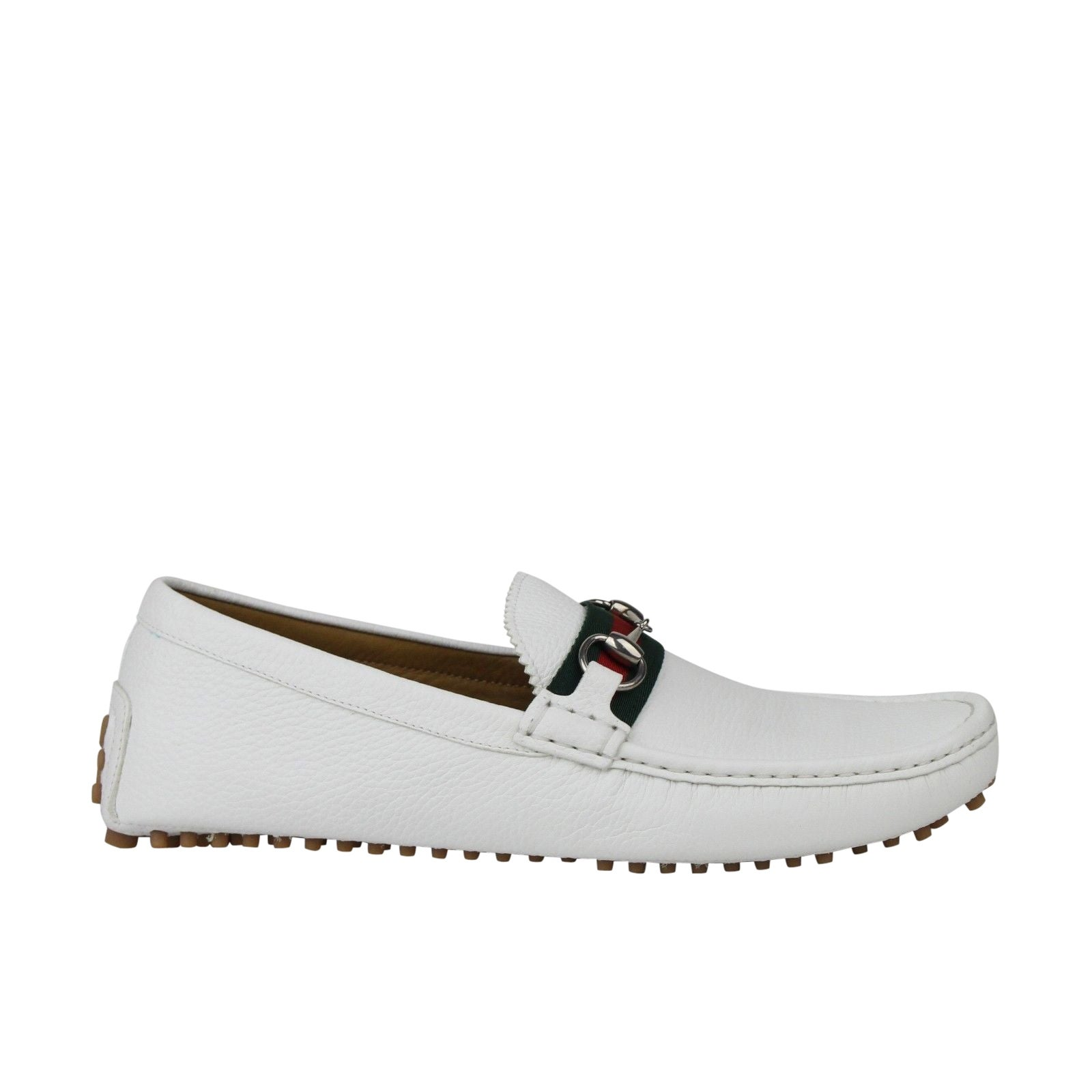 01485be4109 Shop Gucci Men s Horsebit Loafer White Leather Driver Shoe GRG Web 322741 -  12 G   12.5 US - Free Shipping Today - Overstock - 28031643