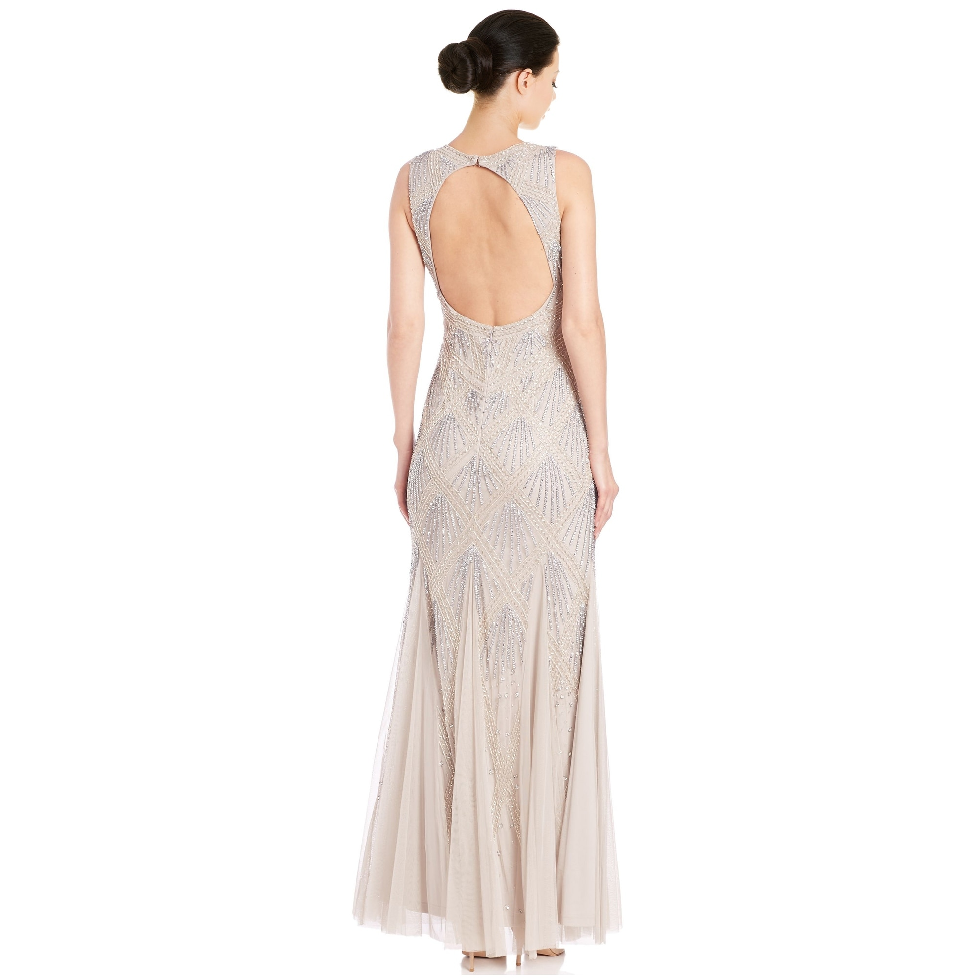 Aidan Mattox Beaded Godet Evening Gown Dress - Free Shipping Today ...