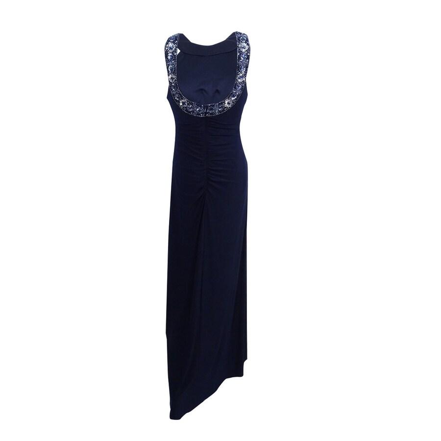 Xscape Women\'s Beaded Halter Scoop-Back Jersey Gown (6, Navy/Silver ...