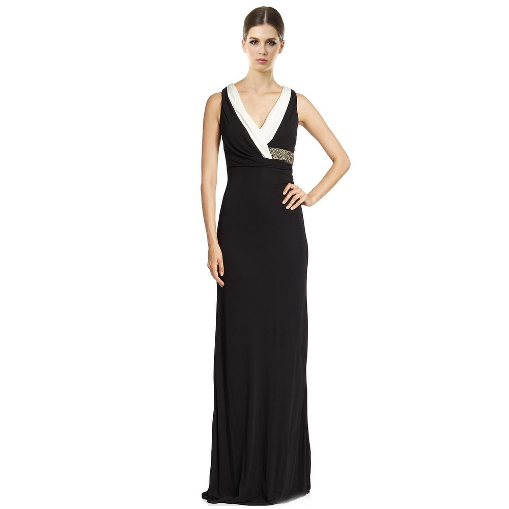 David Meister Embellished Waist Sleeveless Contrast Evening Gown ...