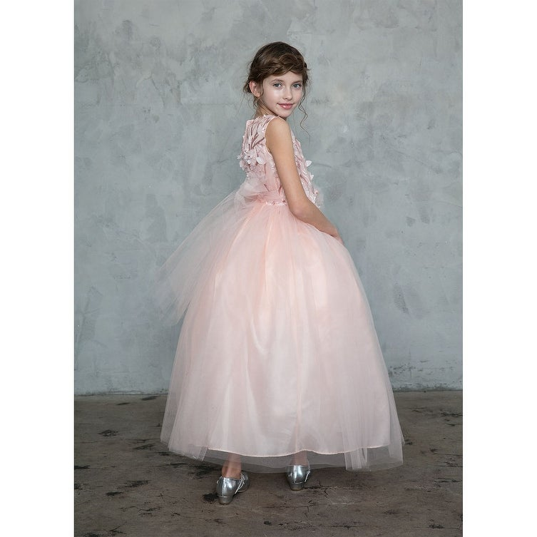 e077be10bc20 Shop Little Girls Blush Pink 3D Flowers Bow Flower Girl Dress - Free  Shipping Today - Overstock - 21610901