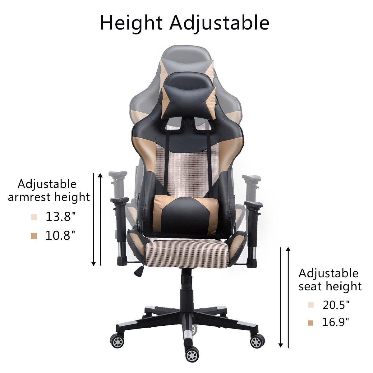 products swivel homcom chair seat black high pillow faux adjustable racing recliner with leather w back office pu