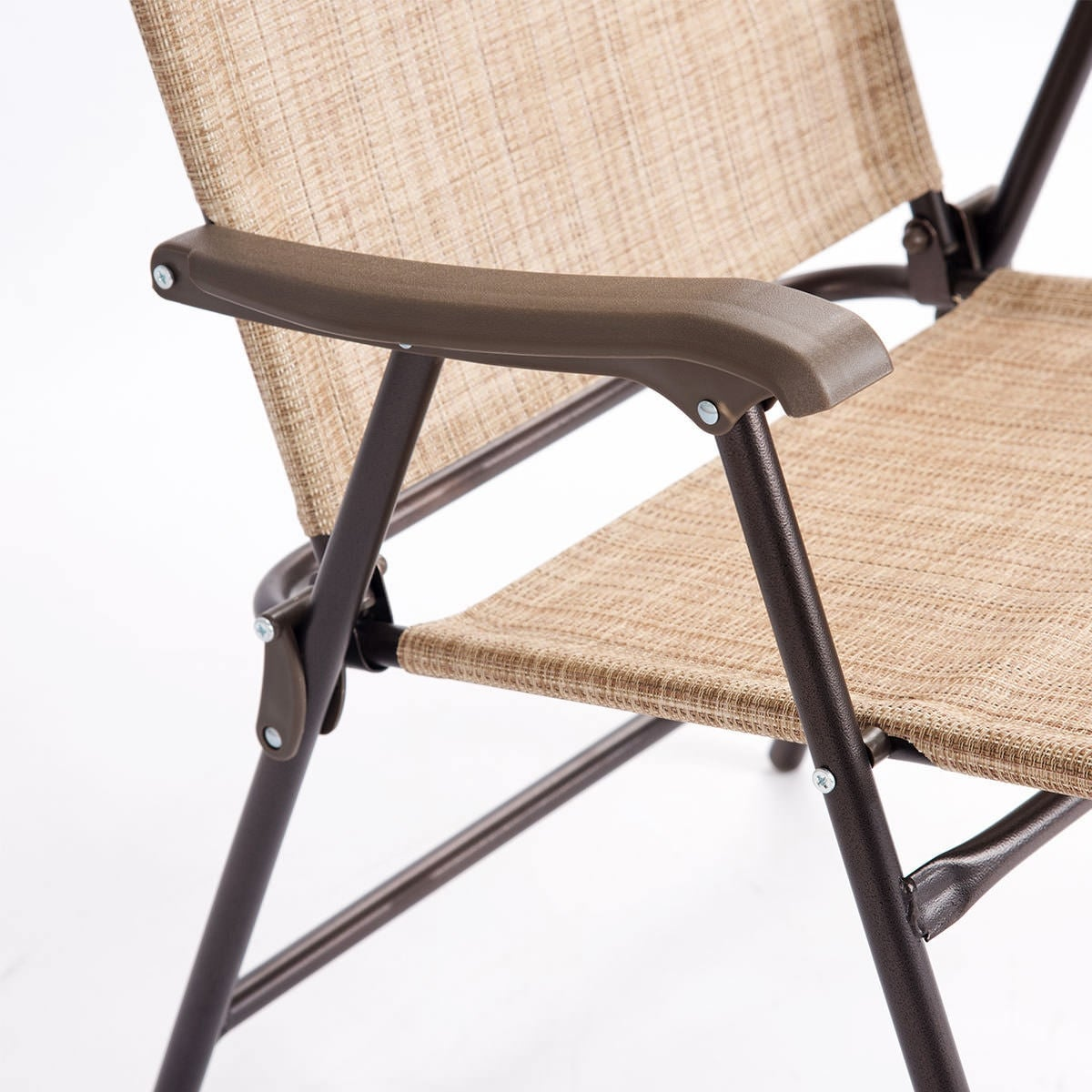 Shop Costway Set Of 2 Patio Folding Sling Back Chairs Camping Deck Garden  Beach Yellow   Free Shipping Today   Overstock.com   21370863