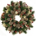 "10.5"" Artificial Pine Cone and Berry Christmas Wreath with Stars - Unlit"