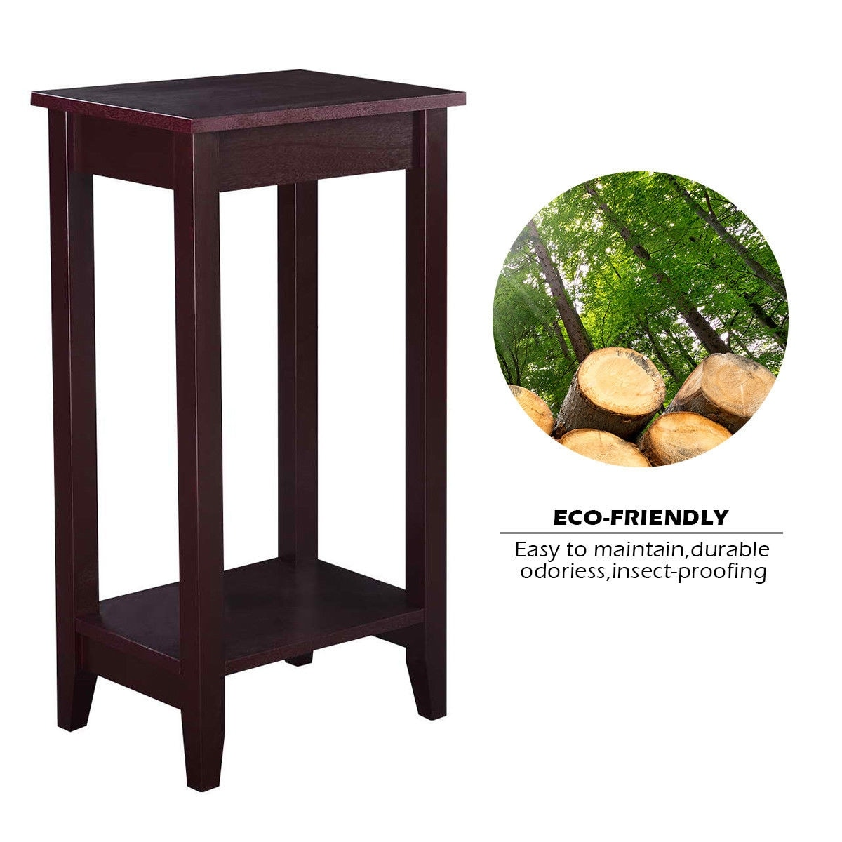 Costway Tall End Table Coffee Stand Night Side Nightstand Accent Furniture Brown Free Shipping Today 16131188