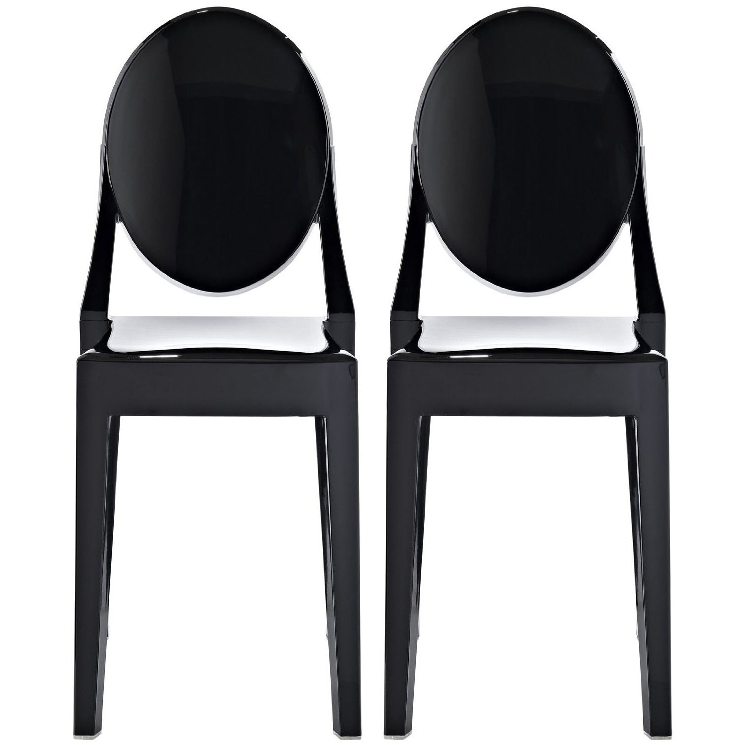 2xhome Set Of 2 Mid Century Contemporary Modern Black Dining Chair Plastic Acrylic Stackable Vintage Kitchen Work