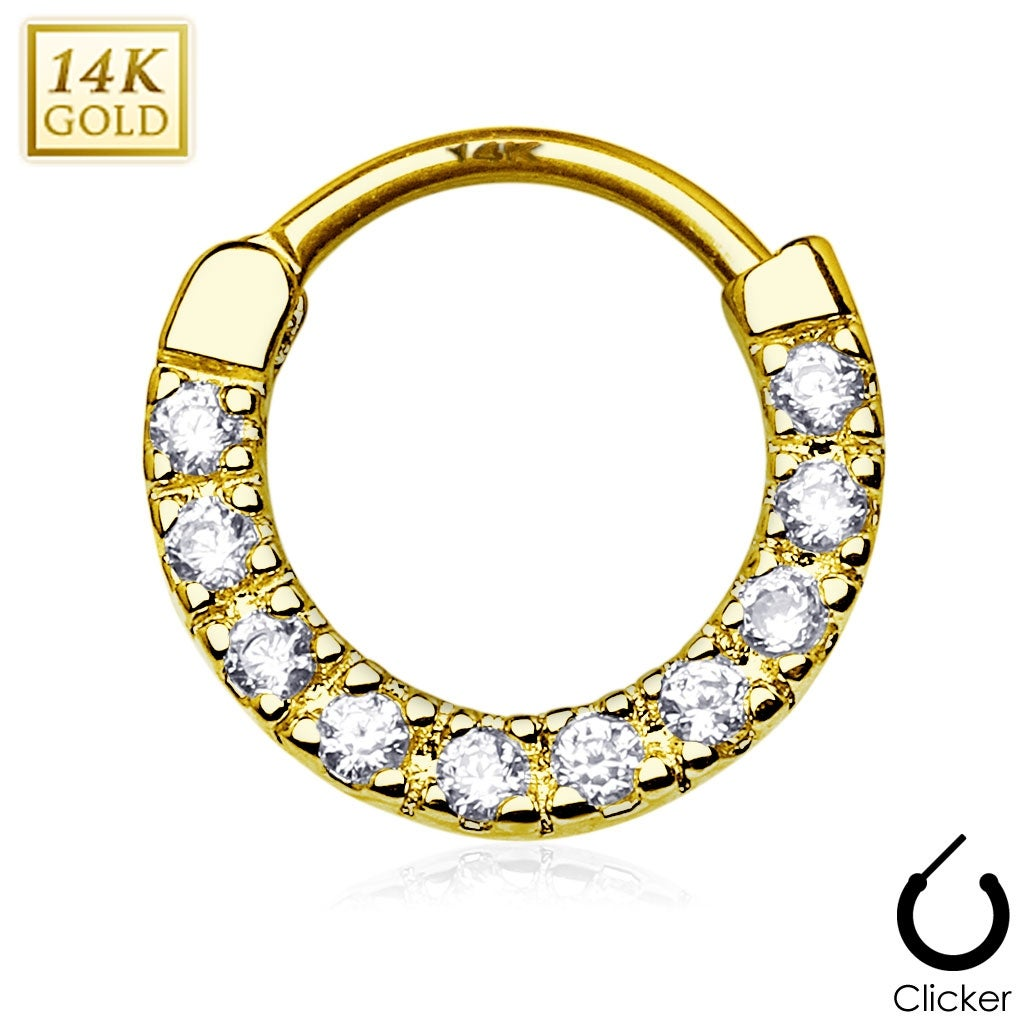e6aa92dbdbf33 Ten Paved CZ Single Line 14Kt Gold Septum Clicker (Sold Individually)