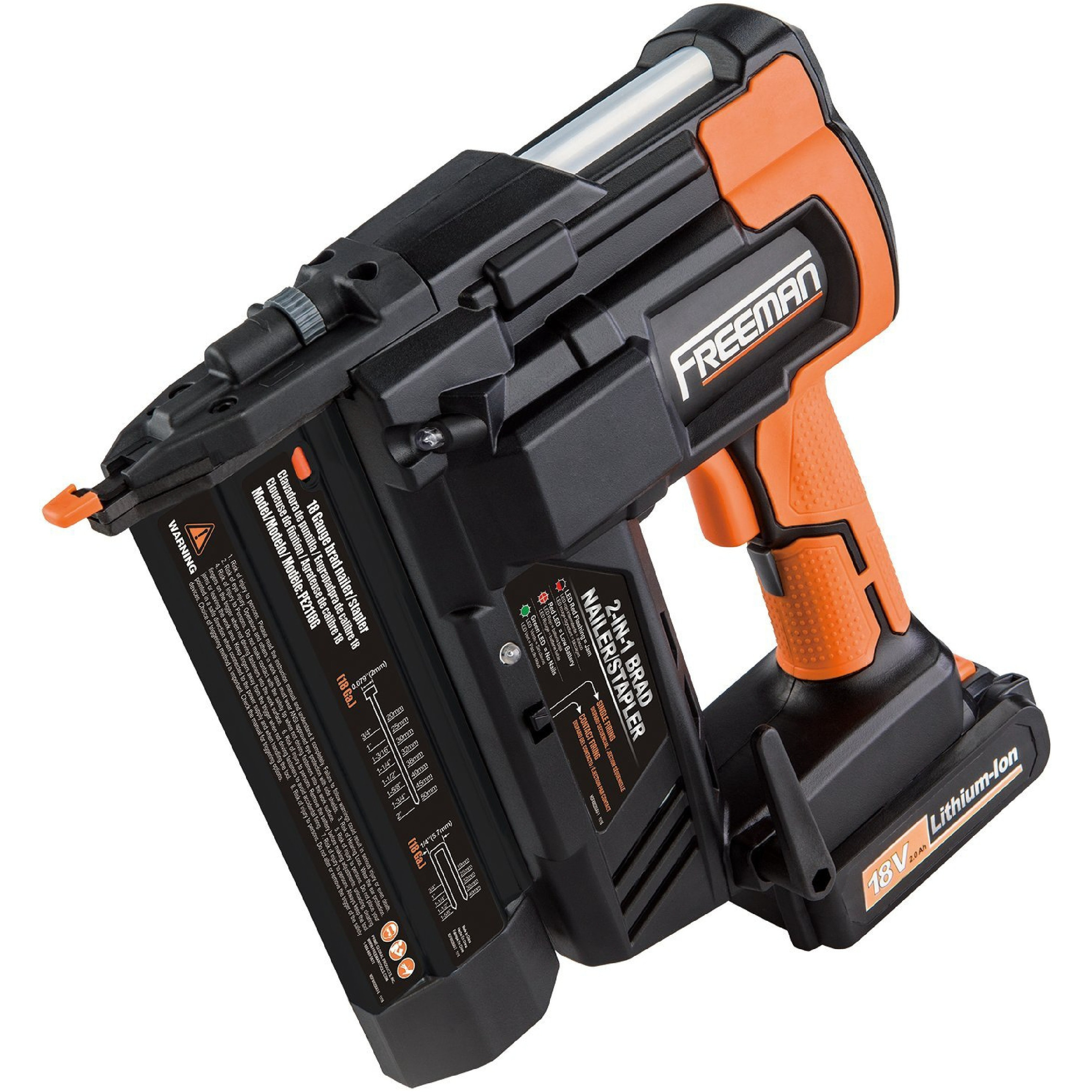 Freeman PE2118G 18 Volt 2-in-1 18 Gauge Cordless Nailer & Stapler - Orange