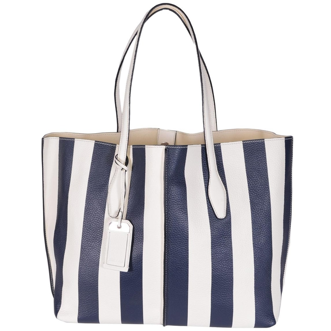 Tod S Women Amf Grande Modello Blue White Striped Leather Purse Tote 16 X12 X7 Free Shipping Today 14514589
