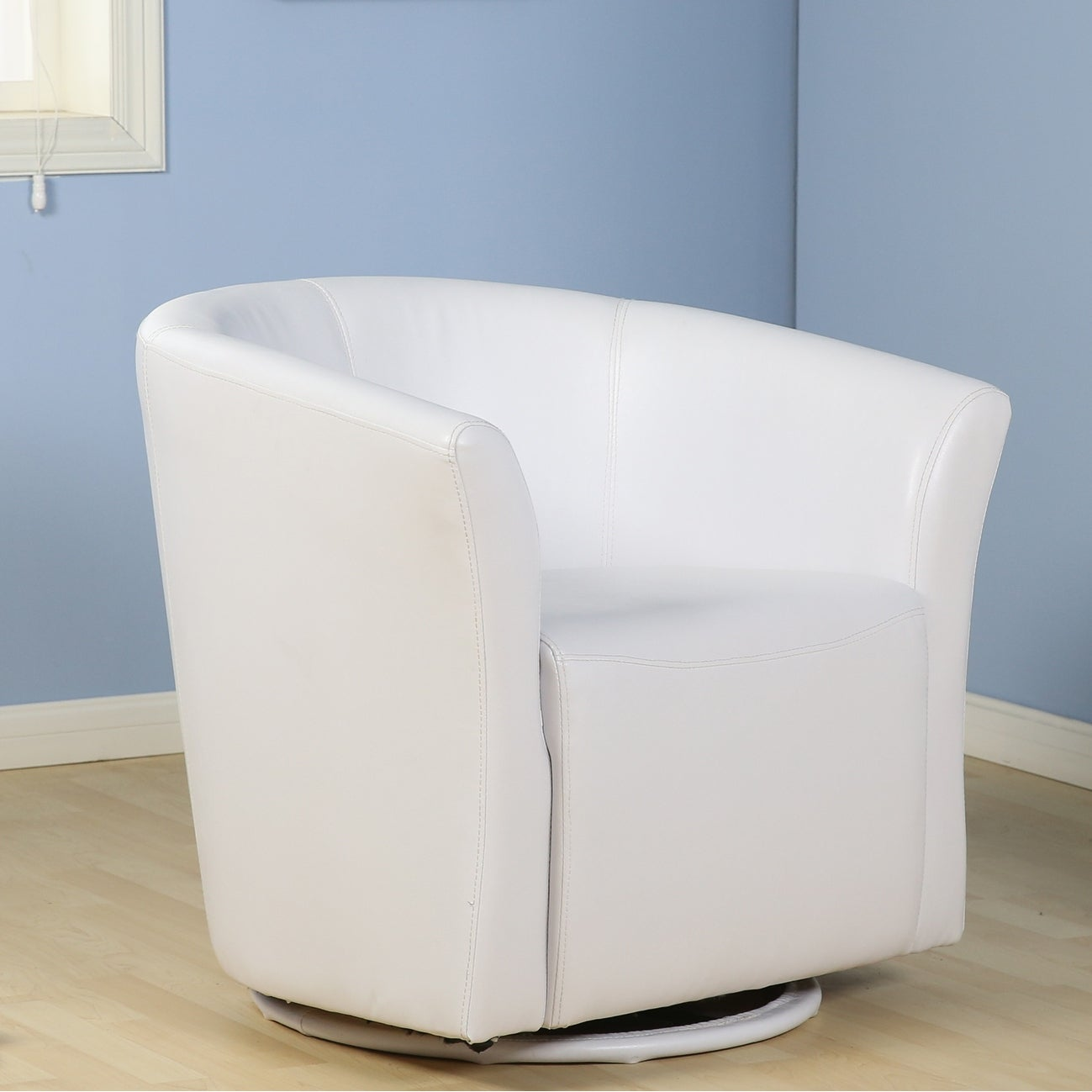 Belleze faux leather club tub barrel modern accent chair with arm rest and 360 degree swivel base white