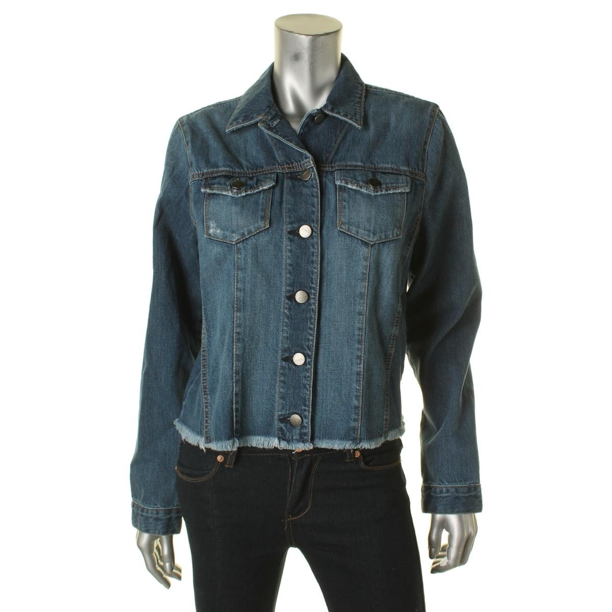 c50f260cc5e4 Shop Nobody Womens Conflict Jean Jacket Frayed Hem Long Sleeves - Free  Shipping Today - Overstock.com - 15797743