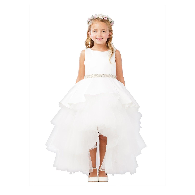 Shop Little Girls White Satin Overlay Rhinestone Hi Low Flower Girl