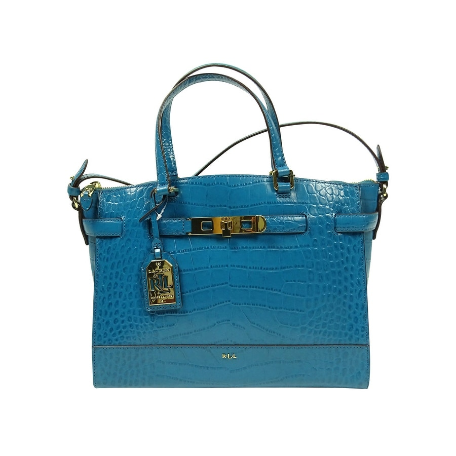 70936744229e ... best price shop lauren by ralph lauren womens handbag darwin embossed  croco leather satchel turkish blue