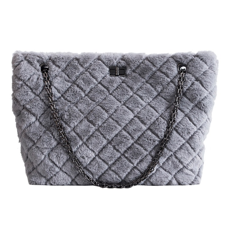 3654fa8a2f91 QZUnique Women's Rhombus Pattern Large Capacity Faux Fur Shoulder Handbag  Chain Tote Bag Crossbody Purse