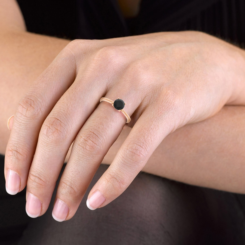 Shop Prism Jewel 1.25 TDW Prong Set Round Black Diamond Solitaire ...