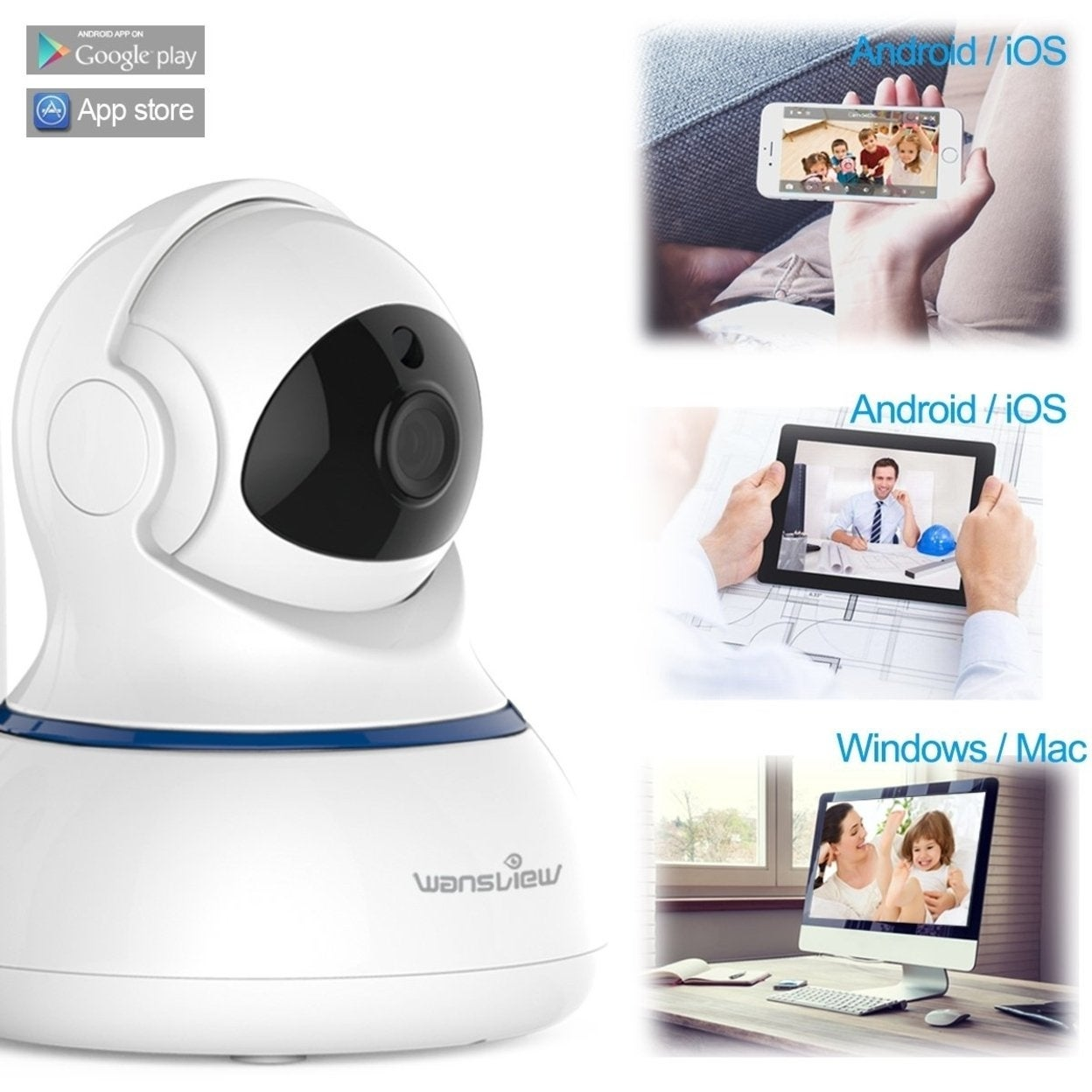 Wansview Wireless 1080P Security Camera, WiFi Home Surveillance IP Camera  Pan/Tilt, Two-Way Audio & Night Vision Q3-S