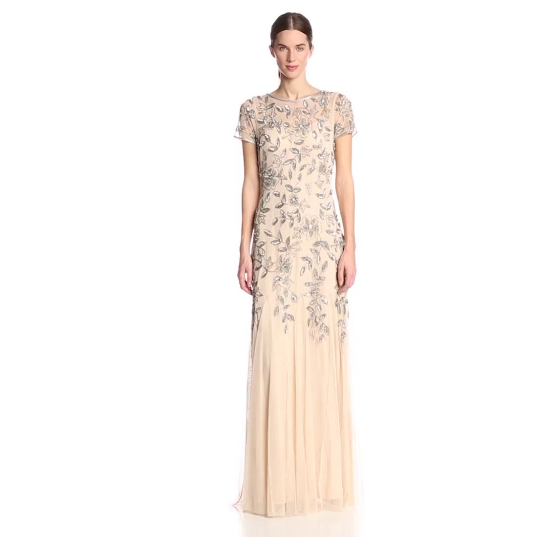 Shop Adrianna Papell Women\'s Floral Beaded Godet Gown - Free ...