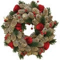 "10"" Pinecones with Berries and Flowers Artificial Christmas Wreath"