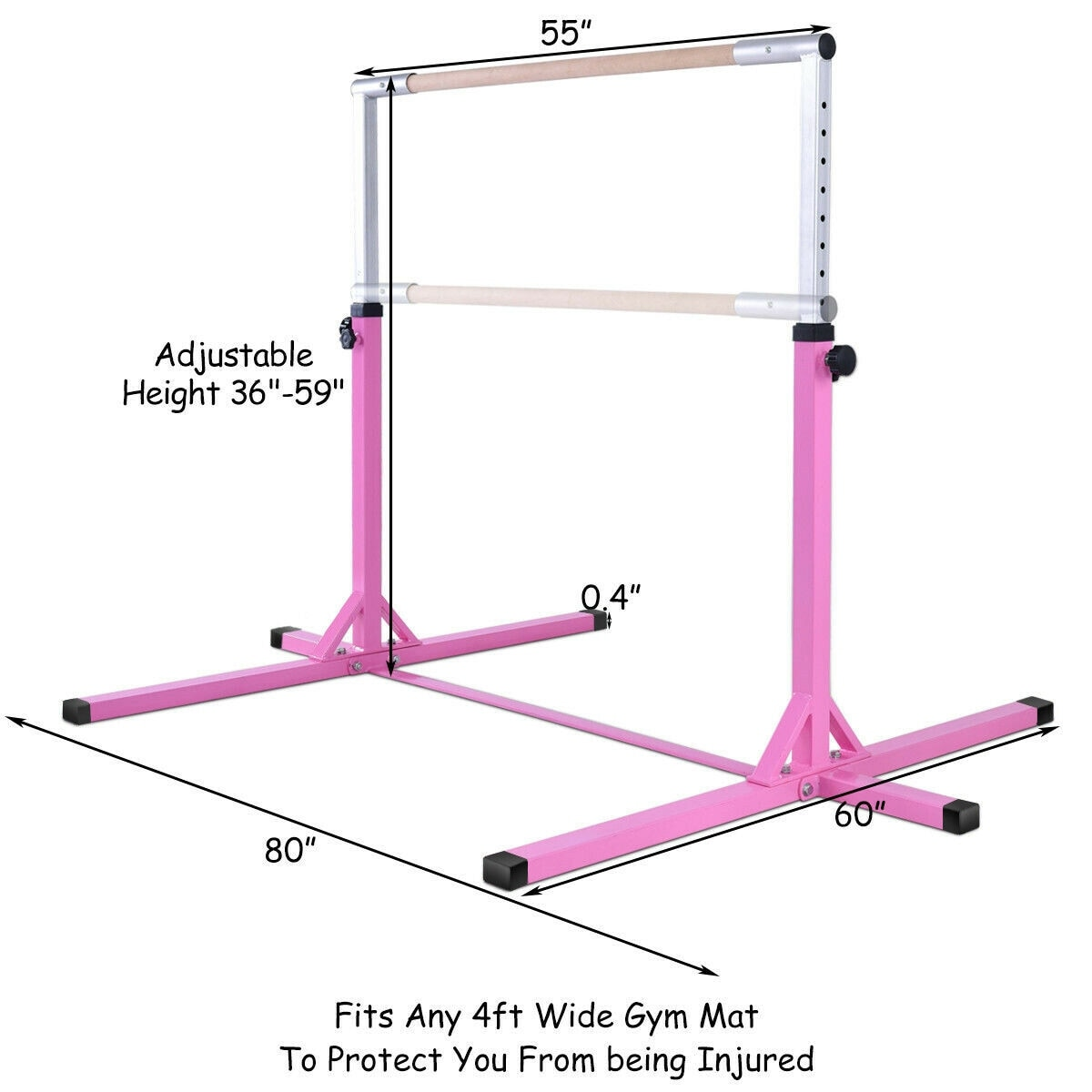 50ae2433a0a0 Shop Goplus Adjustable Steel Horizontal Training Bar Gymnastics Junior Home  Practice - Pink - Free Shipping Today - Overstock - 20708366
