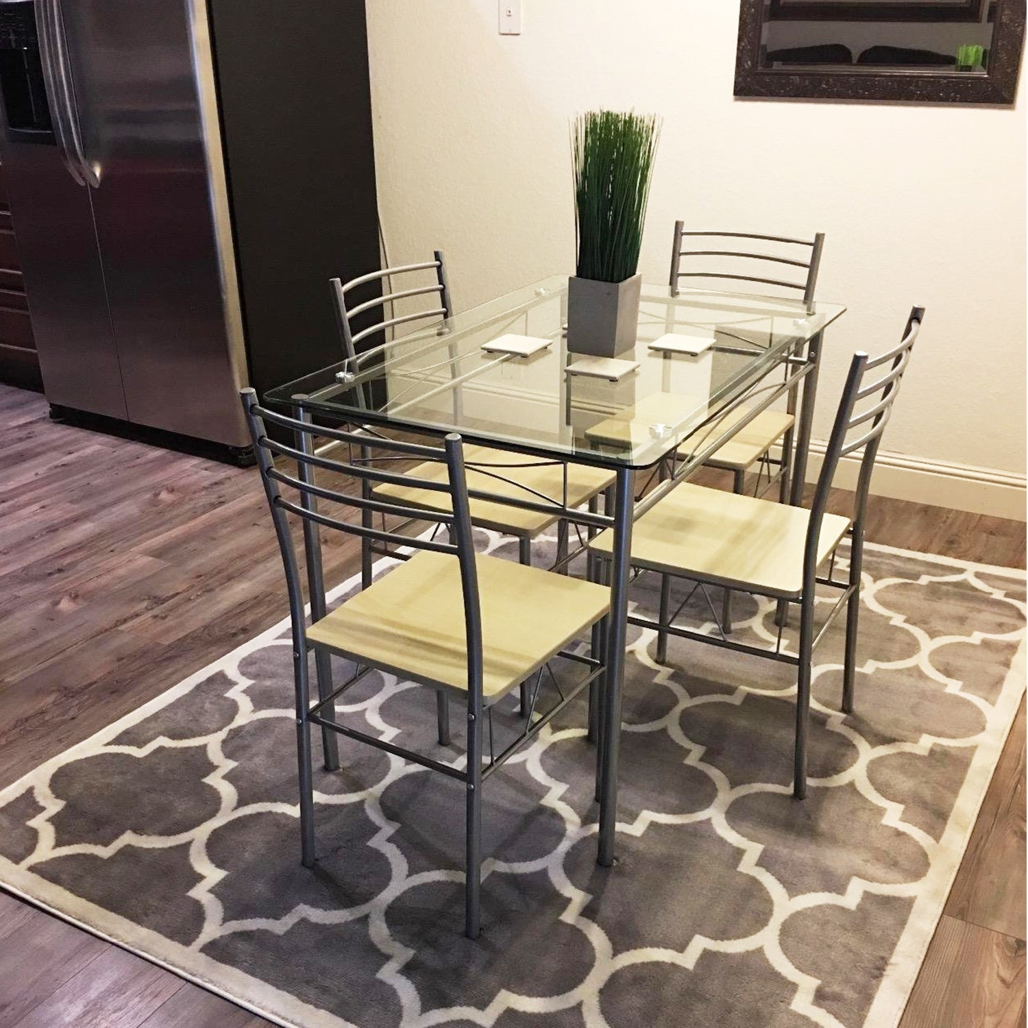 Shop VECELO Kitchen Dining Table Sets,Glass Table With 4 Chairs   Free  Shipping Today   Overstock.com   18541669