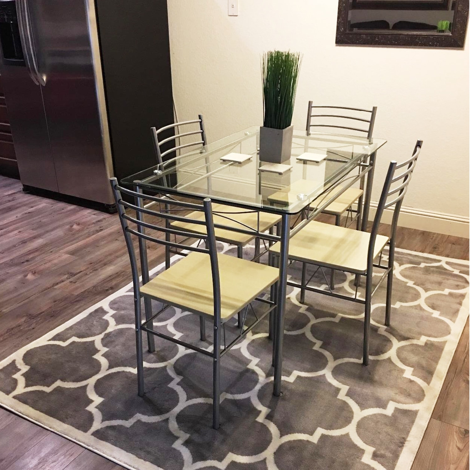 Shop kitchen dining table setglass table and 4 chairsblacksilver shop kitchen dining table setglass table and 4 chairsblacksilver free shipping today overstock 18541669 watchthetrailerfo