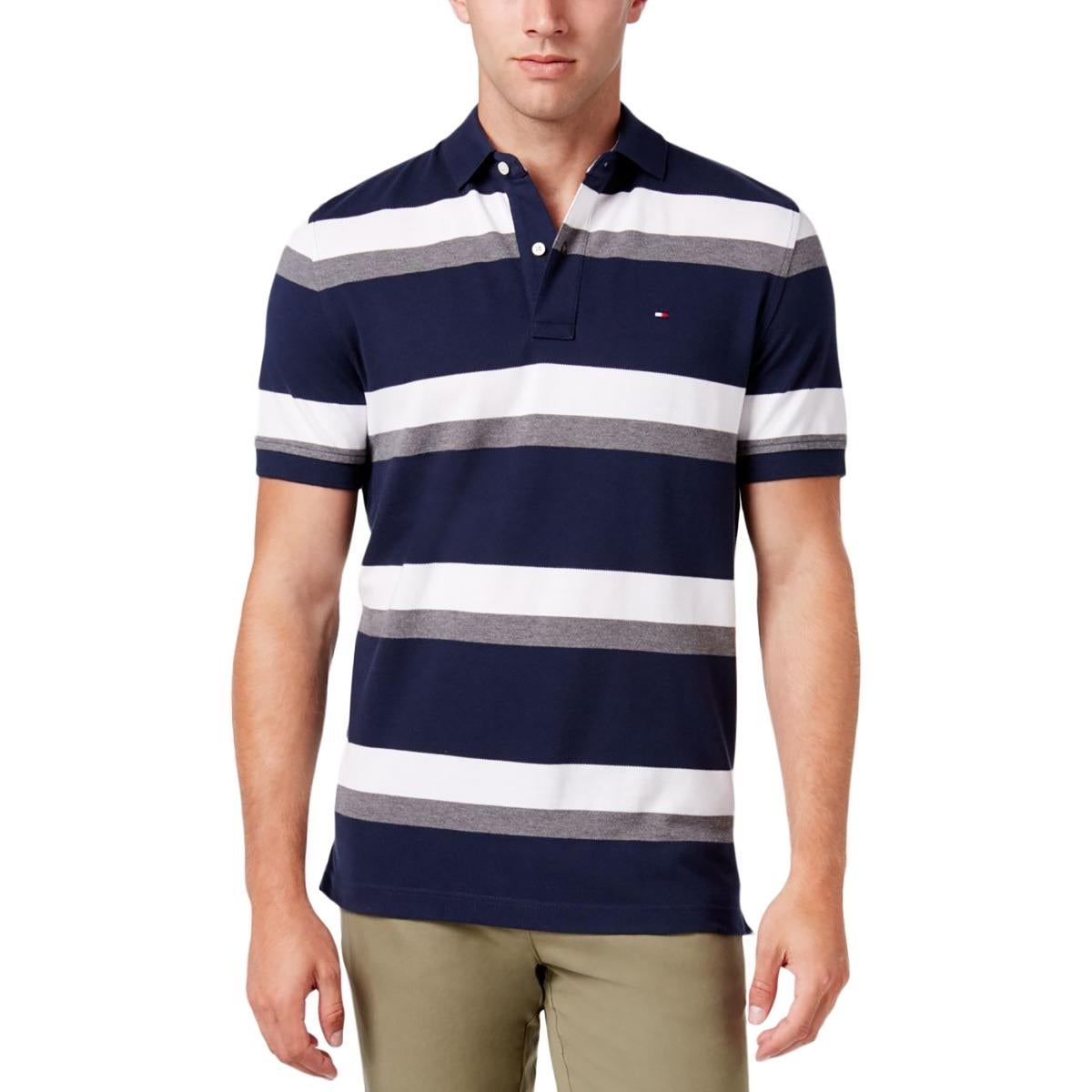 Shop Tommy Hilfiger Mens Polo Shirt Pique Striped Free Shipping On