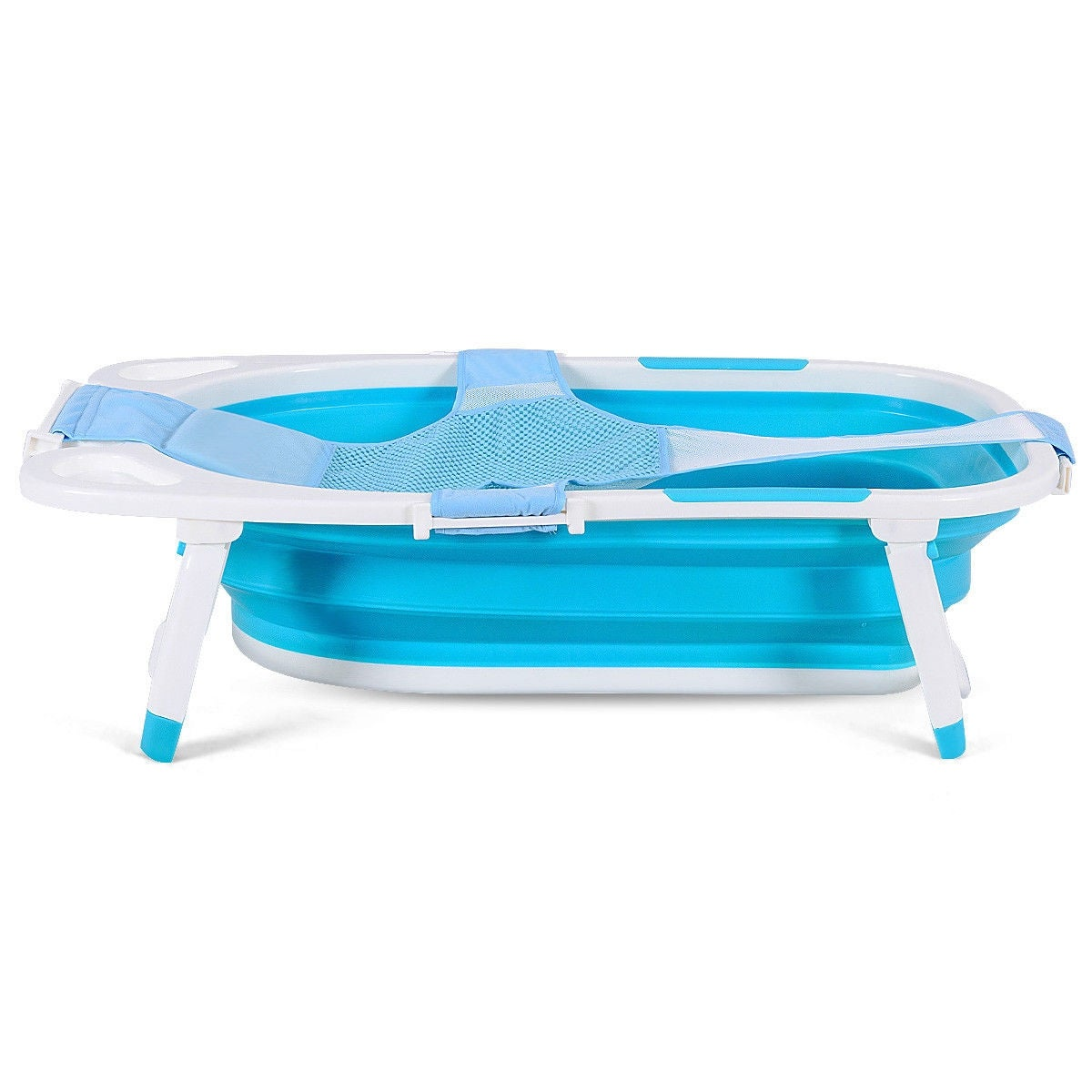 Shop Gymax Blue Baby Folding Bathtub Infant Collapsible Portable ...