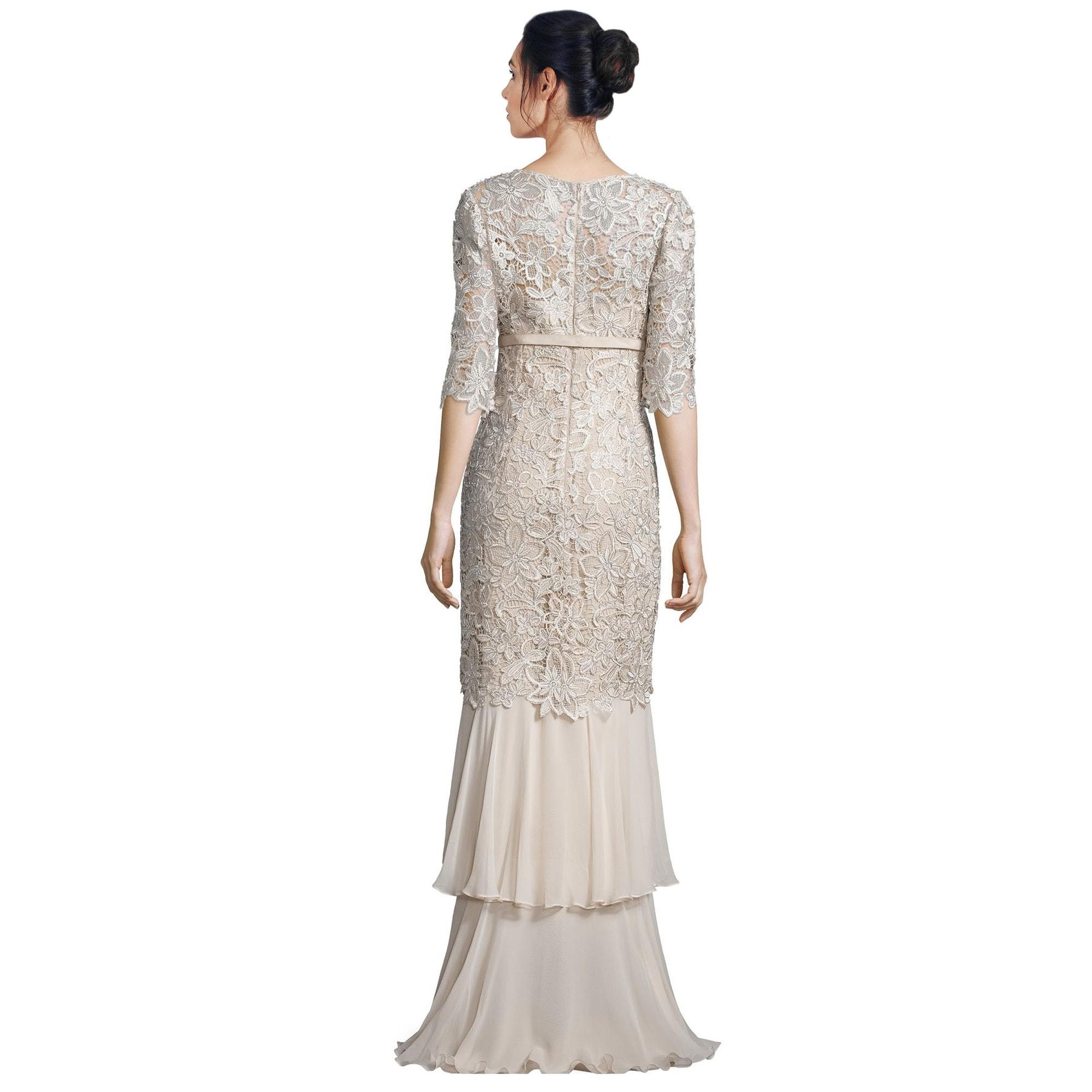 Teri Jon Floral Lace Tiered Mermaid Hem Evening Gown Dress - Free ...