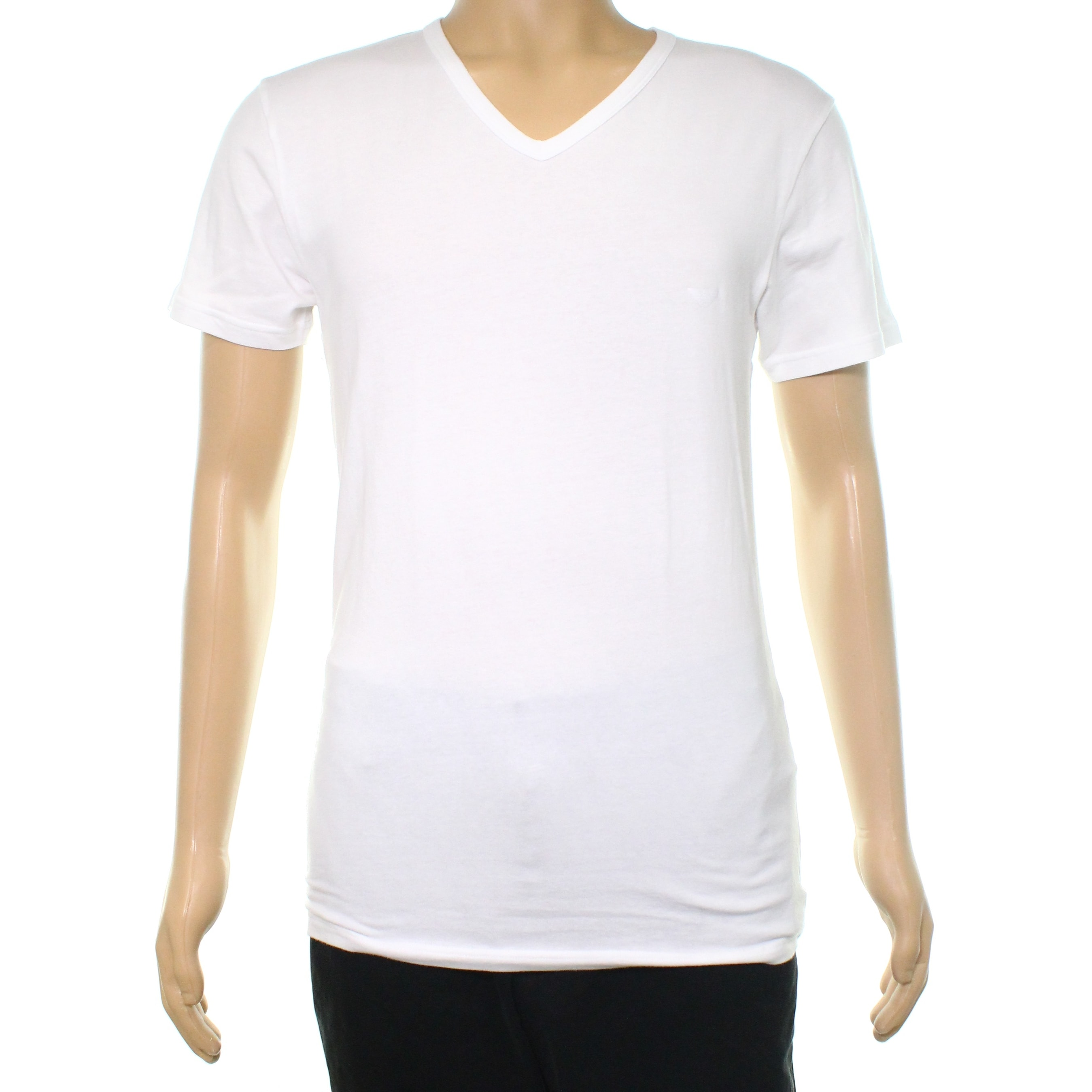 680c2c268f2 Shop Emporio Armani White Mens Size Large L V Neck Stretch T-Shirt - Free  Shipping On Orders Over  45 - Overstock.com - 22388312