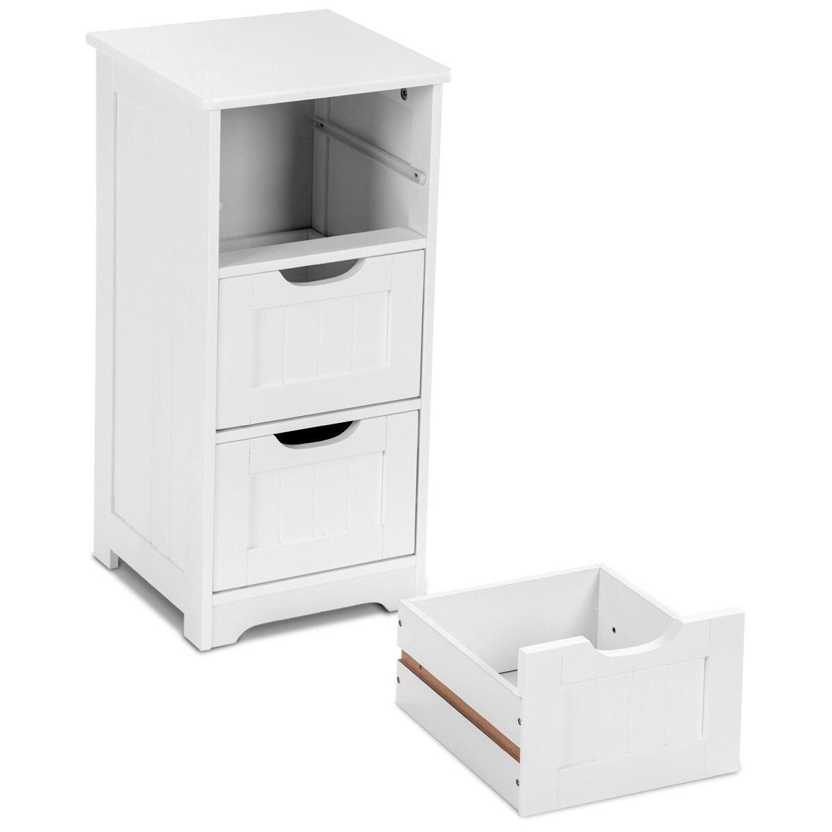 Shop Gymax Bathroom Floor Cabinet Wooden Free Standing Storage Side ...