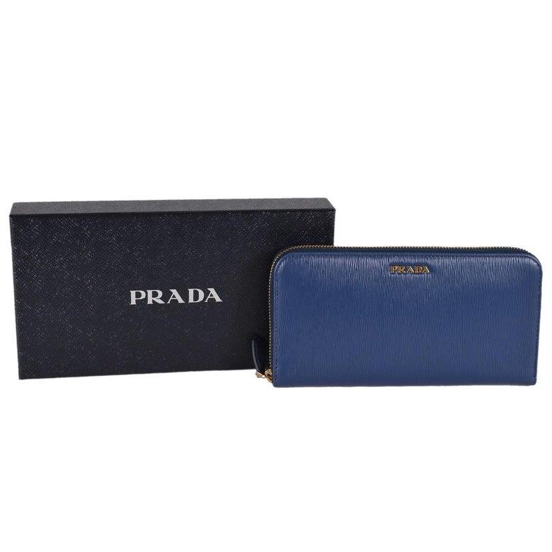 970fe7e0a357 Shop Prada Women's 1ML506 2BNC Blue Saffiano Leather Zip Around Wallet  Clutch - 8