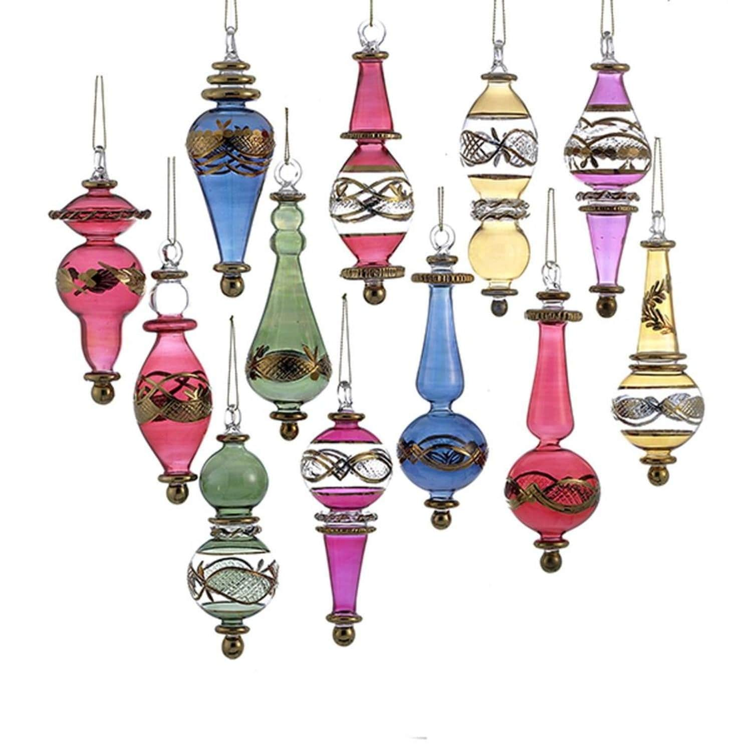 Set Of 12 Vibrantly Colored Decorative Christmas Glass Drop Ornaments