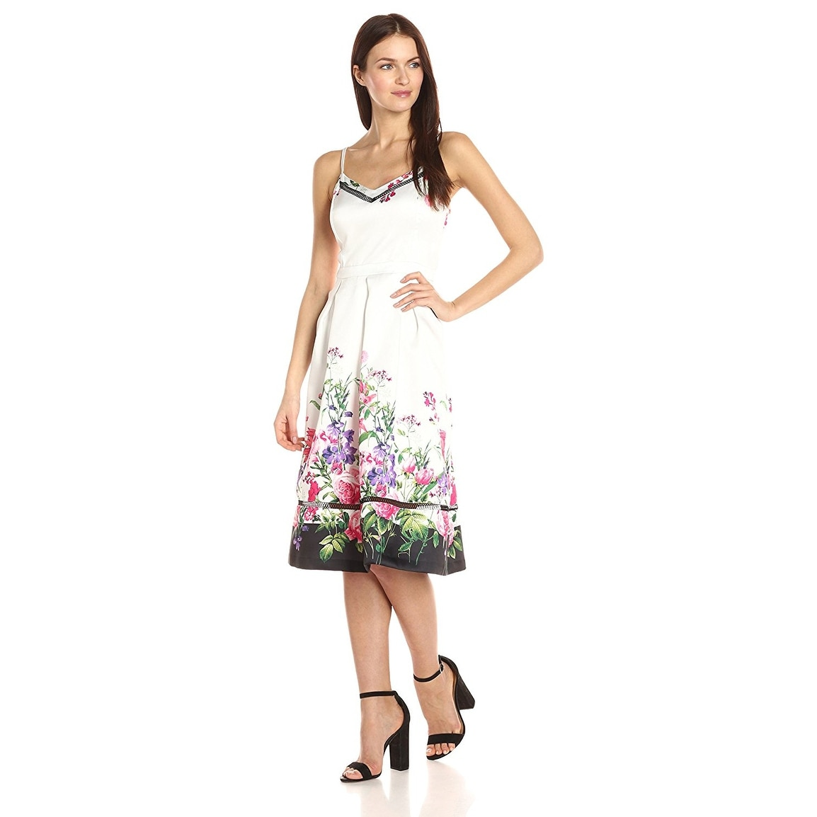 Jessica Simpson Floral Border Fit & Flare Cocktail Dress - Free ...
